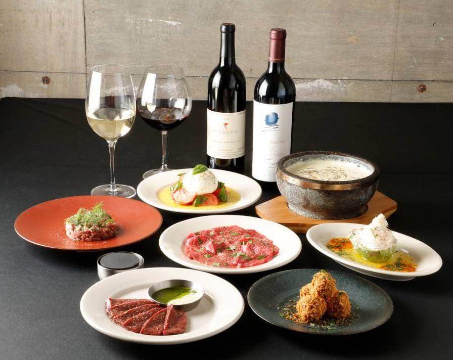 Barbiesgrillの生肉、ステーキ、ワイン